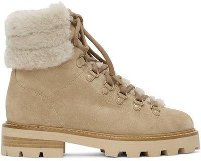 Beige Shearling Eshe Hiking Boots