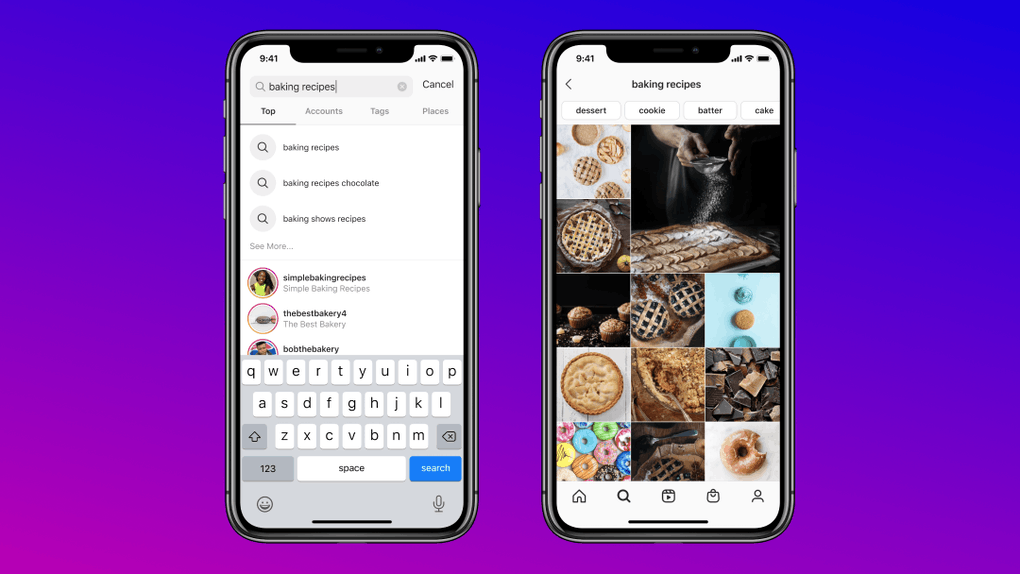 Instagram's keyword search feature can be found in the search bar.