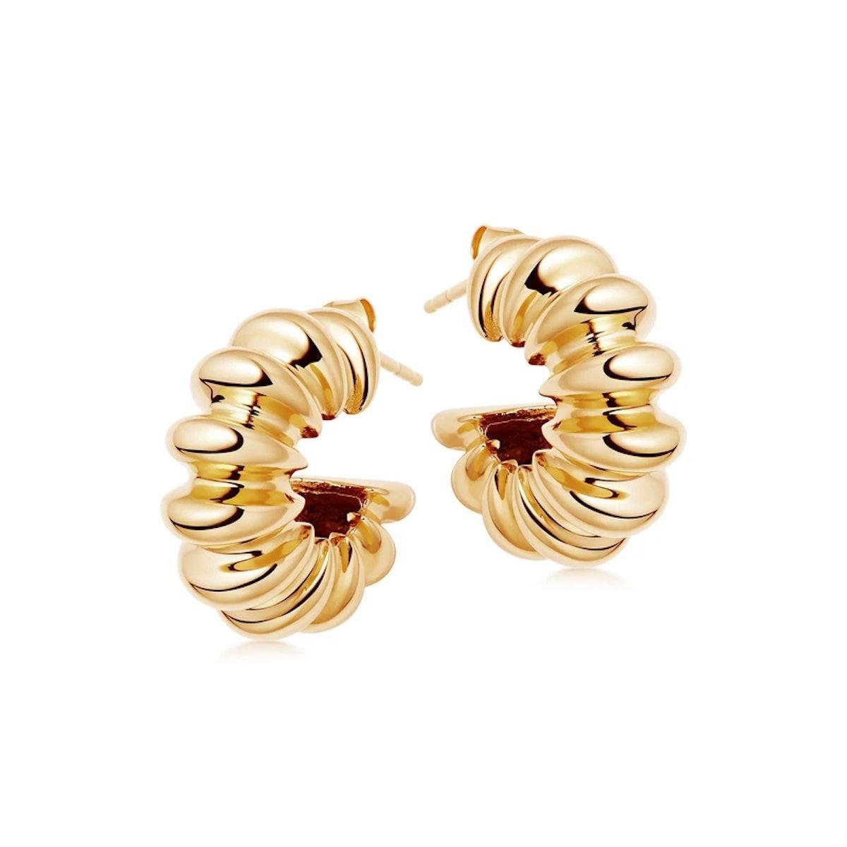 Gold Large Ridge Claw Hoop Earrings