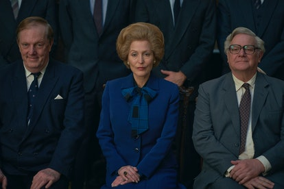 Margaret Thatcher (Gillian Anderson) poses in The Crown Season 4