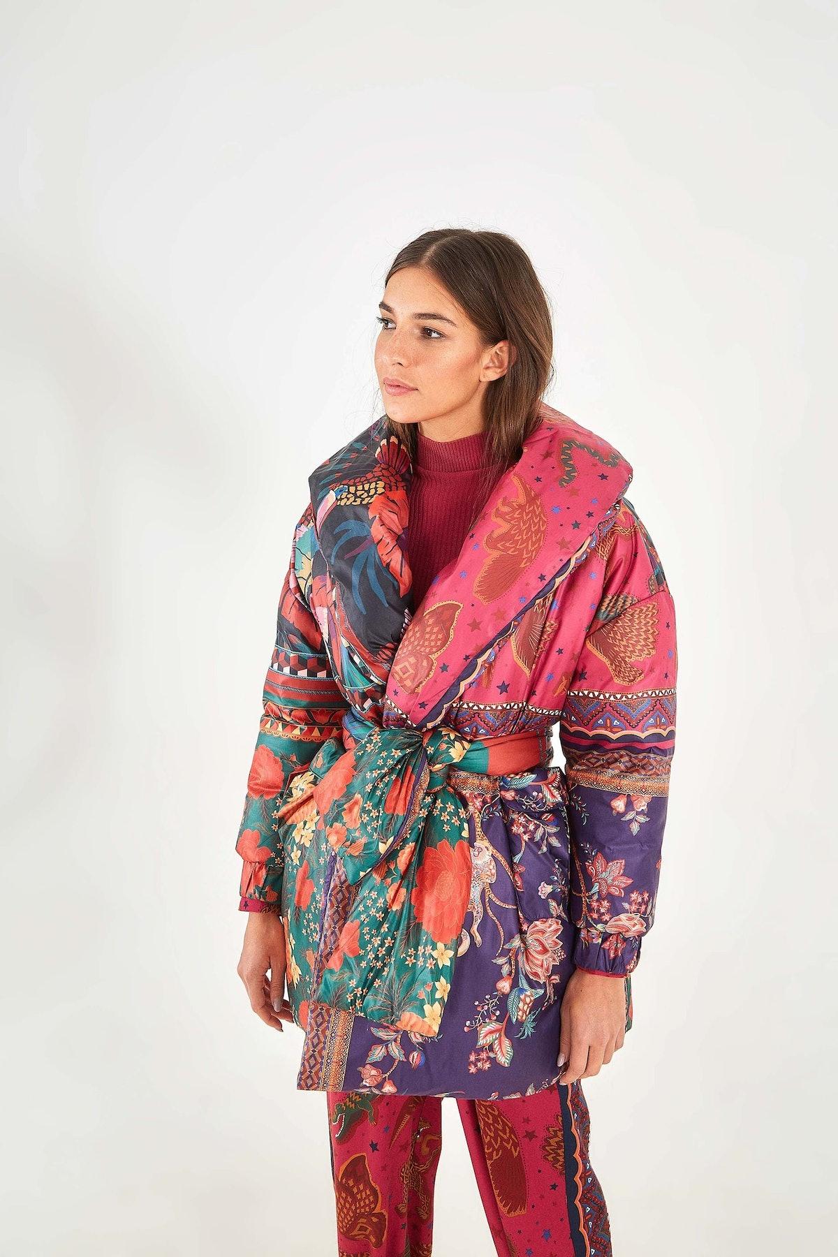 Mixed Scarves Kimono Puffer