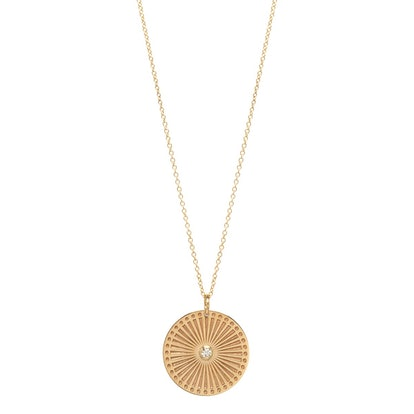 14k Medium Sunbeam Medallion With Bezel Diamond