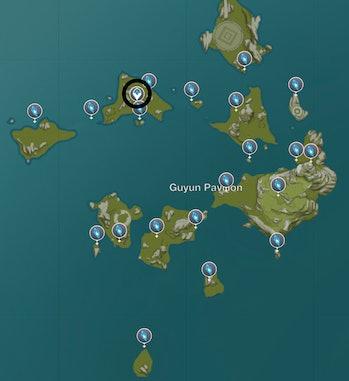 Gunyun Stone Forest Meteorite Shard Map Genshin Impact