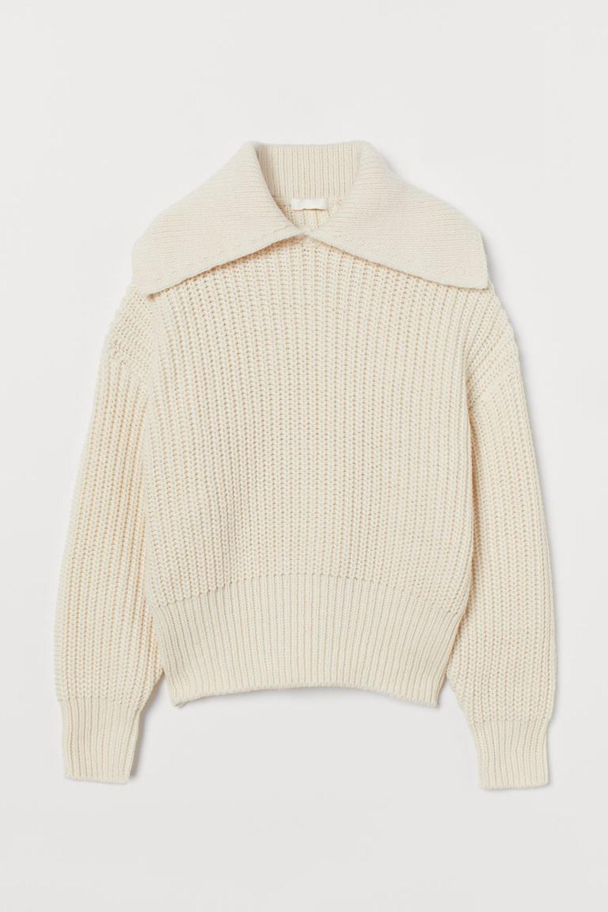 Collared Rib-knit Sweater