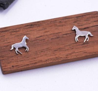 Little Galloping Horse Stud Earrings in Sterling Silver