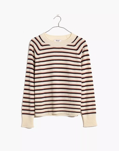 (Re)sponsible Cashmere Roll-Trim Pullover Sweater in Stripe