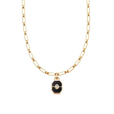 Gold Onyx Locket Aegis Chain Necklace