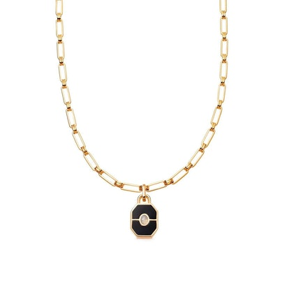 Gold Onyx Locket Aegis Chain Necklace