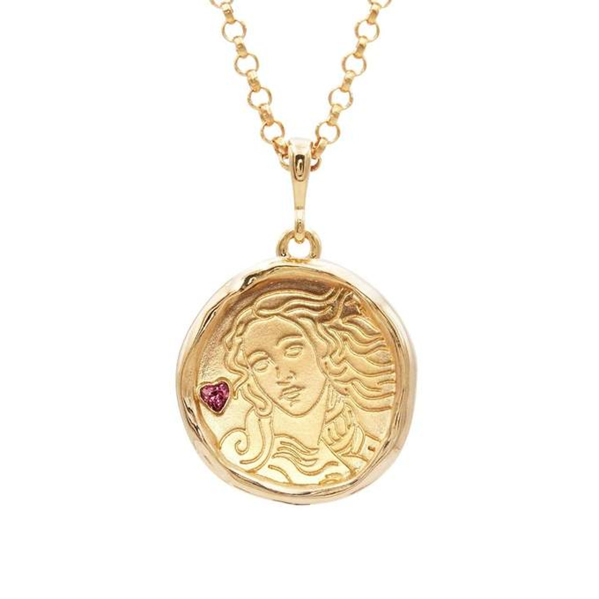 Aphrodite Gold and Garnet Medallion Necklace