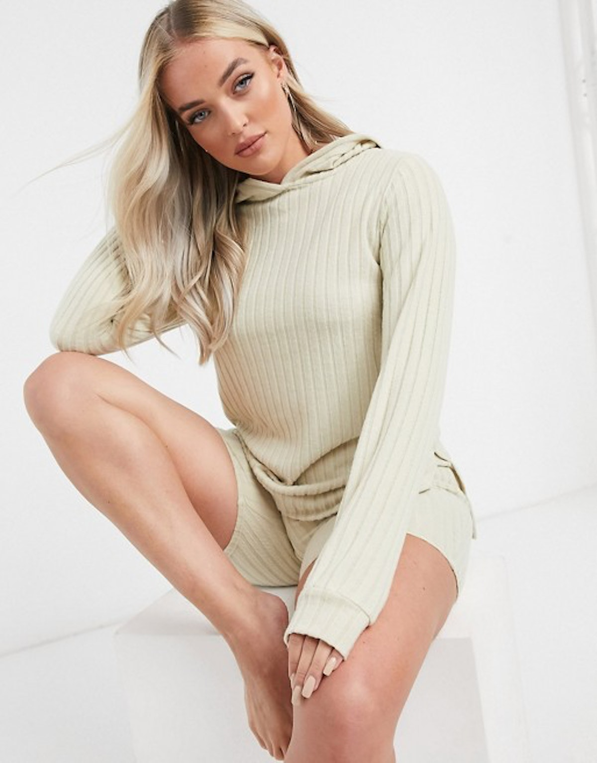 ASOS Loungeable mix & match soft knit rib lounge set in oatmeal