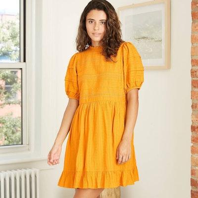 Universal Thread Puff Short Sleeve Eyelet Dress