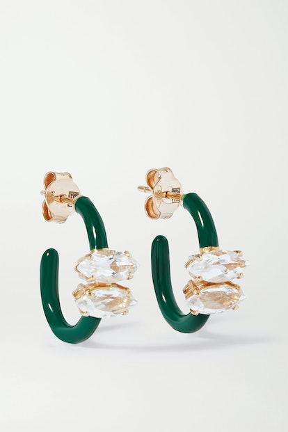 Vine 9-Karat Gold, Enamel And Rock Crystal Earrings