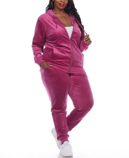 White Mark Plus Size Velour Tracksuit Loungewear 2pc Set