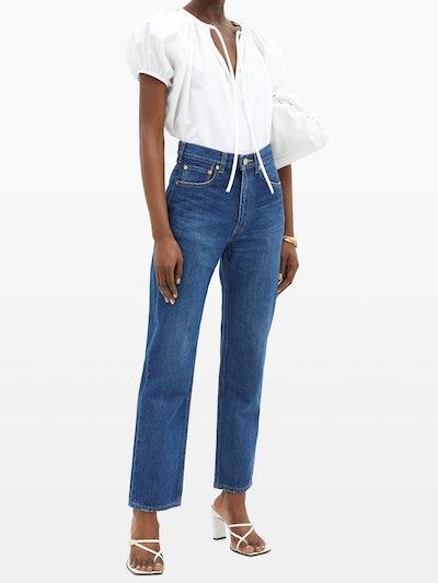 Emerald High-Rise Straight-Leg Jeans