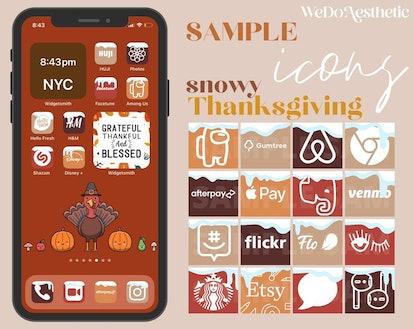 Cute Thanksgiving iOS 14 Home Screen Theme Pack