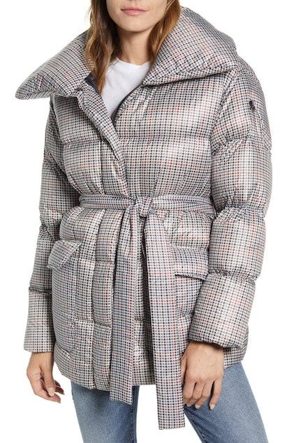 Herringbone Print Belted Puffer Coat