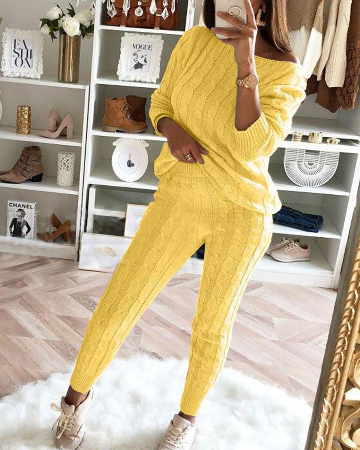 Bellewholesale Solid Ribbed Knitting Casual Sweater & Pants Sets