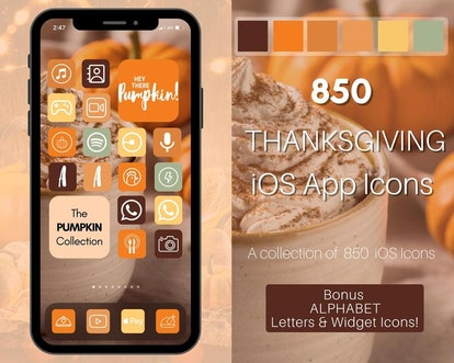 Thanksgiving Pumpkin & Latte iOS 14 Home Screen Theme Pack
