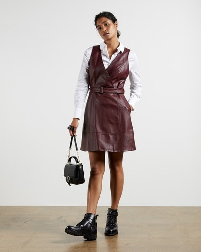 Leather belted wrap dress