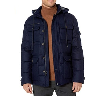 Buttoned Down Duck Down Wool Flannel Parka