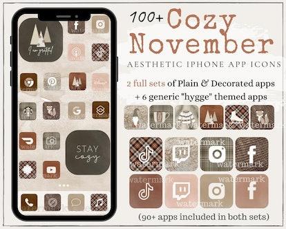 Cozy November Aesthetic iOS 14 Home Screen Theme Pack