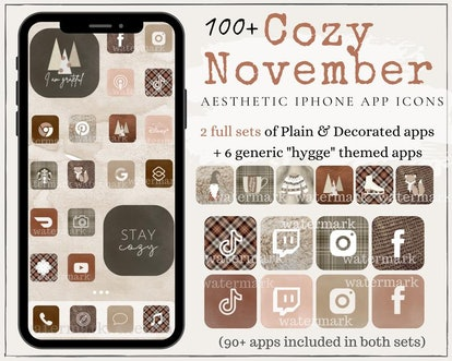 Cozy November Aesthetic iOS 14 Home Screen Theme Pack