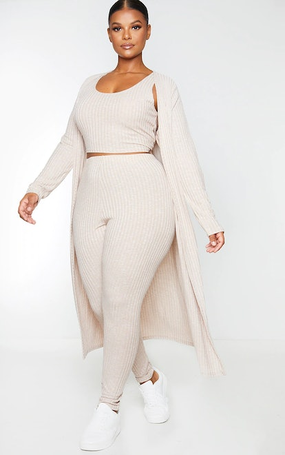 PrettyLittleThing Plus Oatmeal Knitted 3 Piece Legging Set