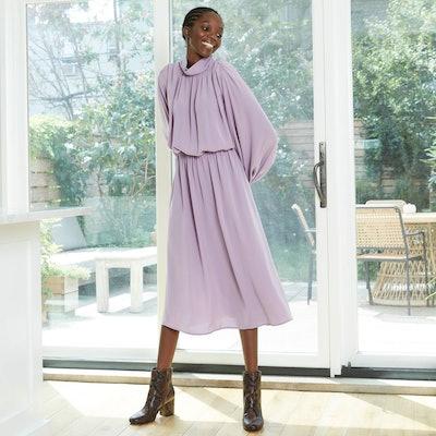 Prologue Bishop Long Sleeve Shirred Dress