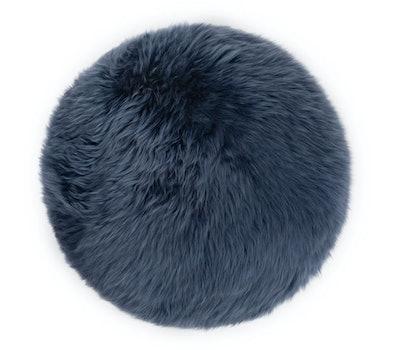 Lanna Navy Round Sheepskin Pillow