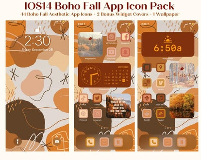 Fall Boho Thanksgiving iOS Home Screen Theme Pack