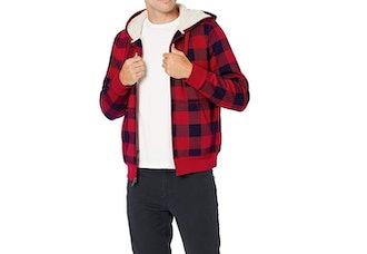 Amazon Essentials Sherpa-Lined Plaid Zipper Sweatshirt