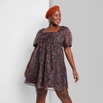 Wild Fable Floral Print Short Sleeve Organza Muse Dress