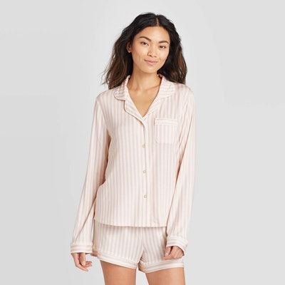 Stars Above Striped Beautifully Soft Long Sleeve Notch Collar and Short Pajama Set