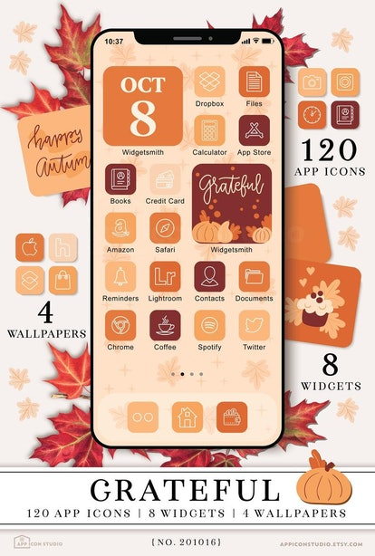 Thanksgiving Fall Aesthetic iOS 14 Home Screen Theme Pack