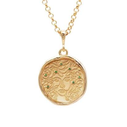 Medusa 7 Emerald Gold Medallion Necklace