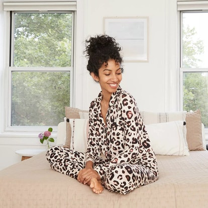 Stars Above Women's Animal Print Beautifully Soft Long Sleeve Notch Collar Top and Pants Pajama Set