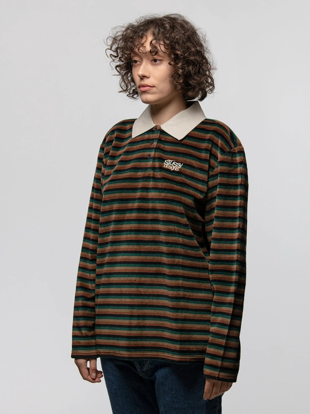 Rosemary Velour Stripe LS Polo