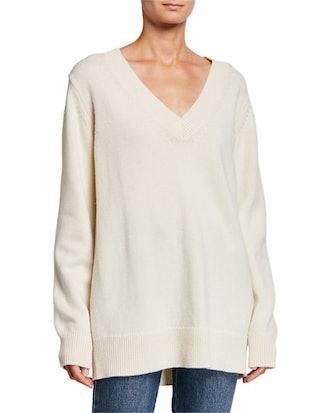 Wool-Cashmere V-Neck Boyfriend Sweater