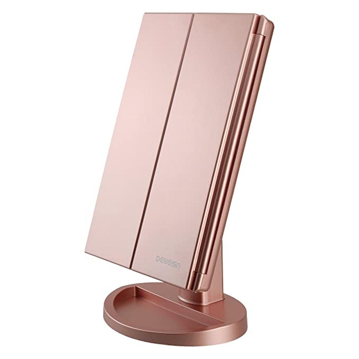 Deweisn Tri-Fold Vanity Mirror with 21 LED Lights