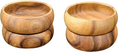 Pacific Merchants Acaciaware Round Calabash Bowl (Set of 4)