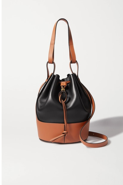 Balloon Two-Tone Leather Bucket Bag