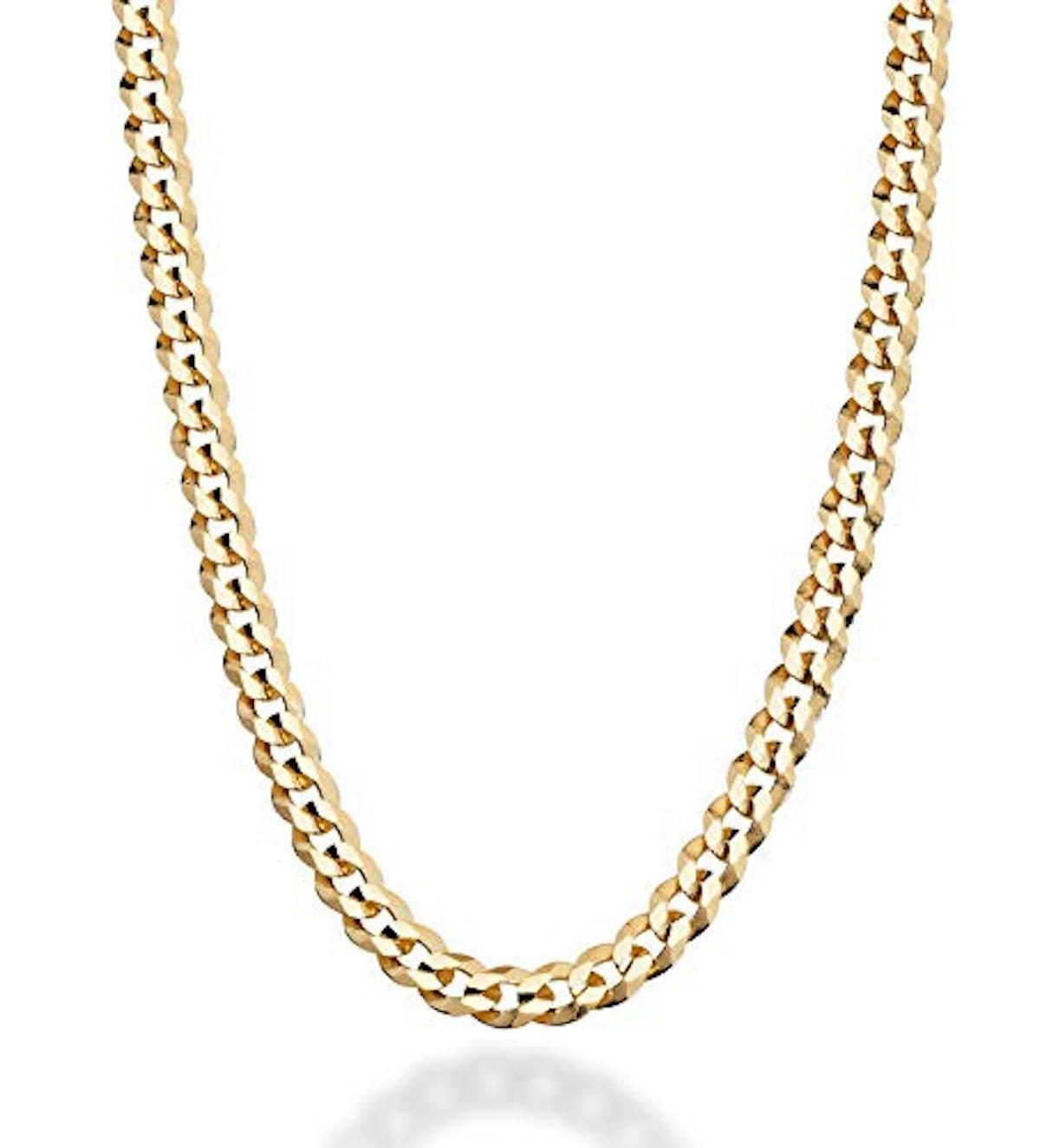 MiaBella Diamond-Cut Cuban Link Curb Chain Necklace