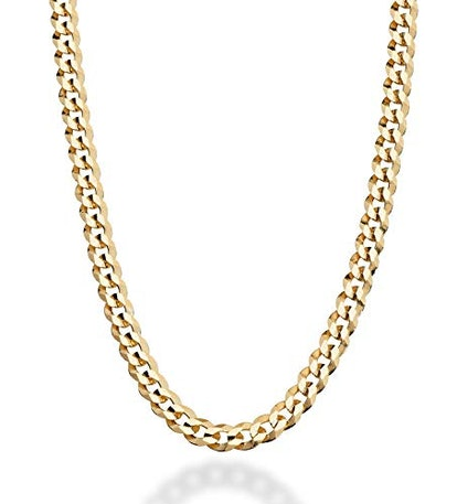 MiaBella Diamond-Cut Cuban Link Curb Chain Necklace