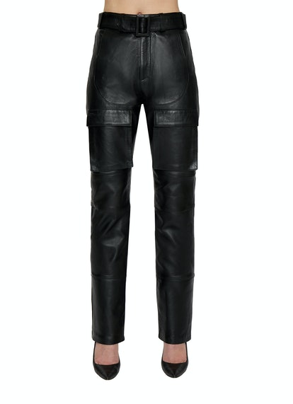 BELTED LEATHER CARGO PANTS