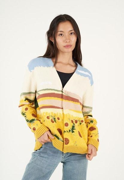Intarsia Sunflower Cardigan Jacket