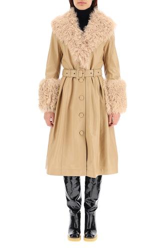 Fur Buttons Closure Blend coat