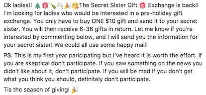 Screenshot of a Secret Sister Gift Exchange Facebook post.