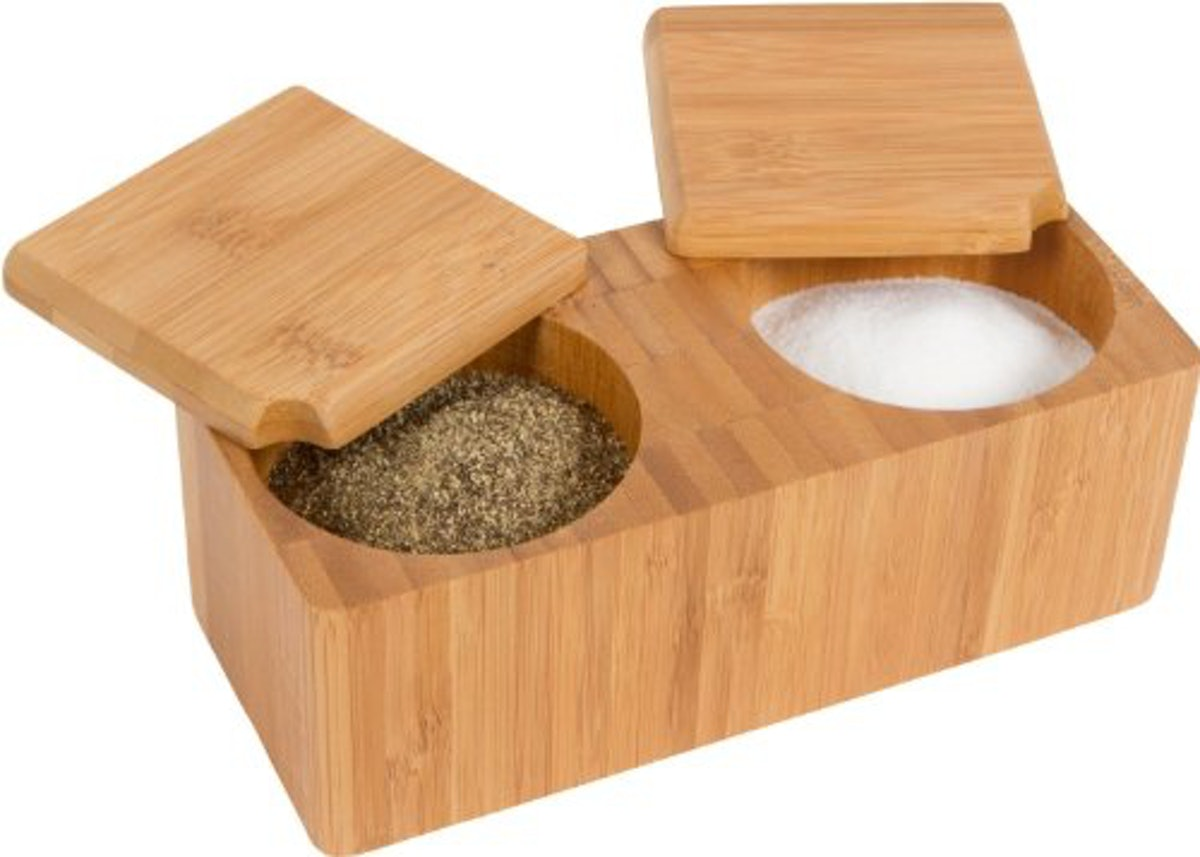 Trademark Innovations Bamboo Salt and Pepper Box