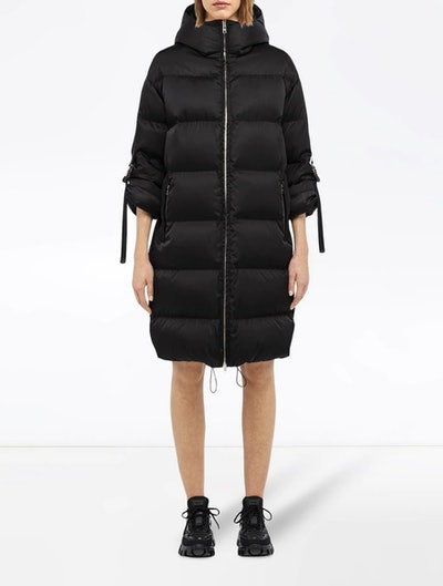 Padded Coat With Roll-Up Buckle Sleeves