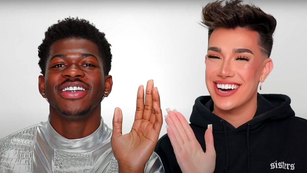 Lil Nas X and James Charles film a beauty tutorial together.